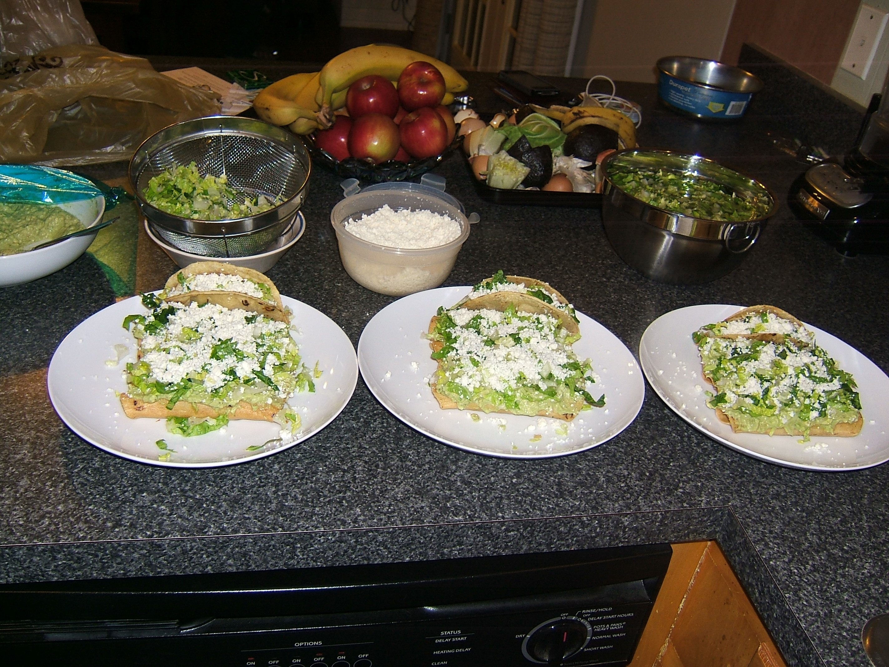 Dishes of flautas and tacos
