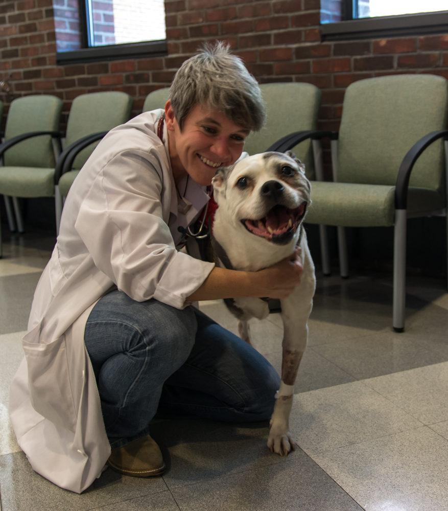 Sasha with Dr. Mason, her favorite vet.